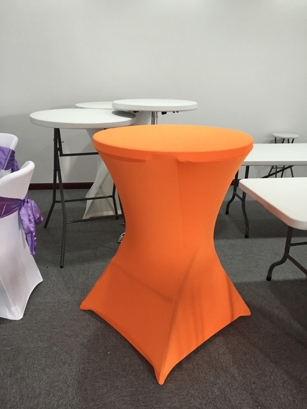 Wholesale black or white spandex cocktail table cover for wedding or banquet